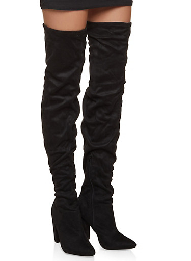 Block Heel Over the Knee Boots,BLACK SUEDE,large