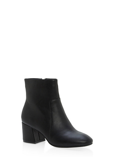 Mid Heel Almond Toe Booties,BLACK CRP,large