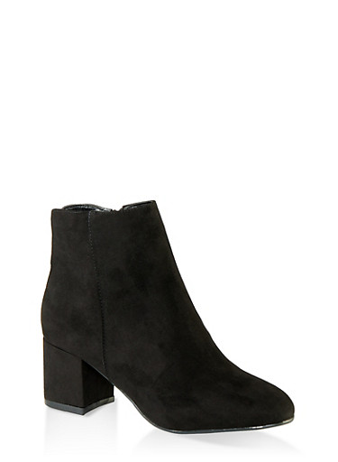 Round Toe Mid Heel Booties,BLACK SUEDE,large
