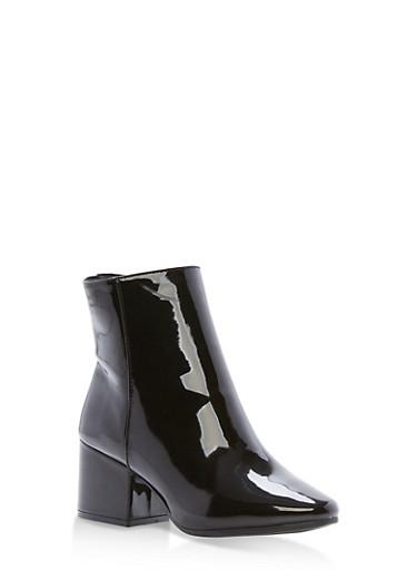 Side Zip Block Heel Booties,BLACK PATENT,large