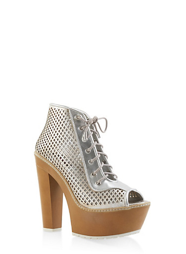 Perforated Peep Toe Platform Booties,SILVER,large