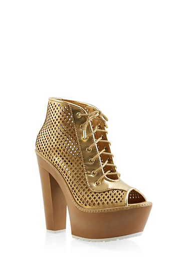 Perforated Peep Toe Platform Booties,GOLD,large
