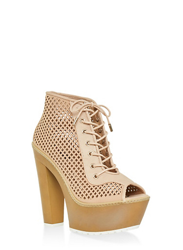 Perforated Peep Toe Platform Booties,BLUSH,large