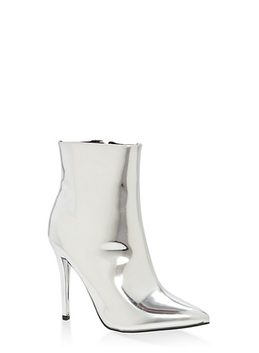 Mirror Metallic Faux Leather Booties,SILVER PATENT,large