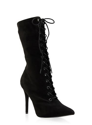 Lace Up High Heel Booties,BLACK SUEDE,large