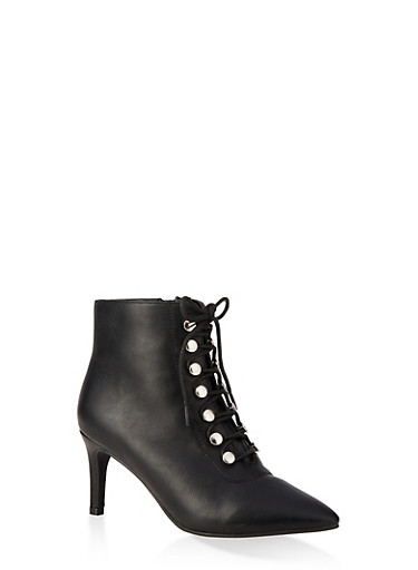 Lace Up Pointed Toe Booties,BLACK,large