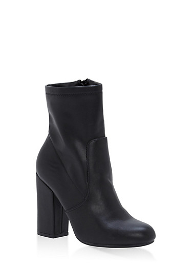 Block Heel Booties,BLACK SPU,large