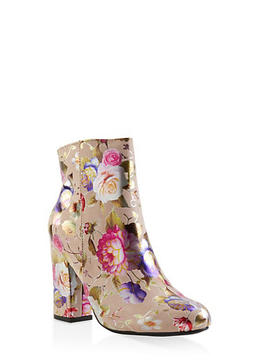 Floral Block Heel Booties,MULTI COLOR,large