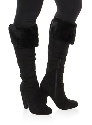 Faux Fur Cuffed High Heel Boots,BLK FFS,large