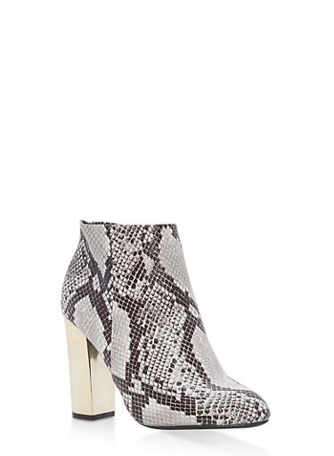 Mirrored Metallic Heel Booties,BLACK SNAKE,large