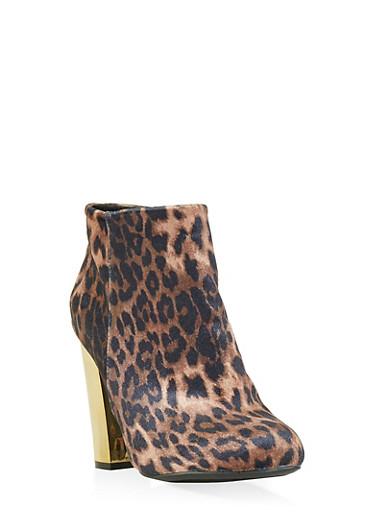 Metallic Heel Leopard Print Booties,LEOPARD PRINT,large