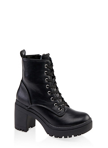 Chunky Lace Up Boots,BLACK,large