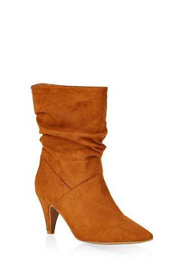 Ruched Pointed Toe Booties,BROWN,large