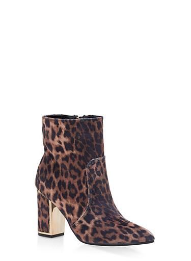 Metallic Detail Block Heel Booties,LEOPARD VELVET,large