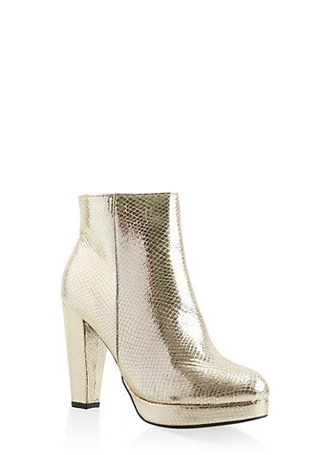 Side Zip High Heel Platform Booties,GOLD,large