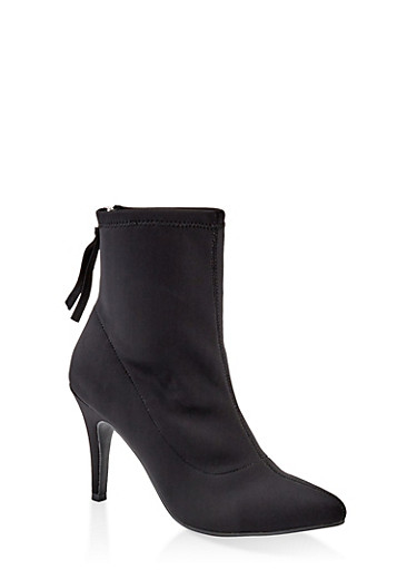 Neoprene Pointed Toe Booties,BLACK,large
