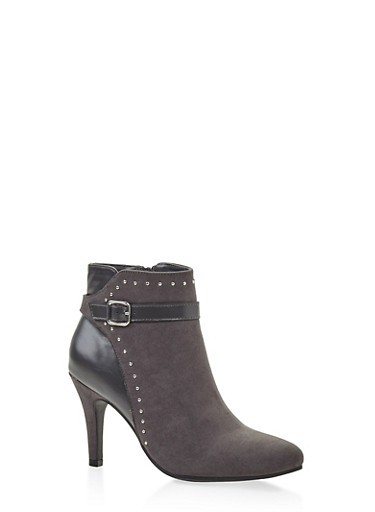 Buckle Strap Studded Booties,CHARCOAL,large
