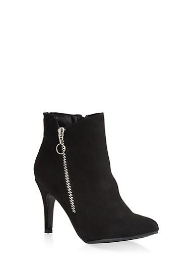 Pointed Toe Zip Booties,BLACK SUEDE,large
