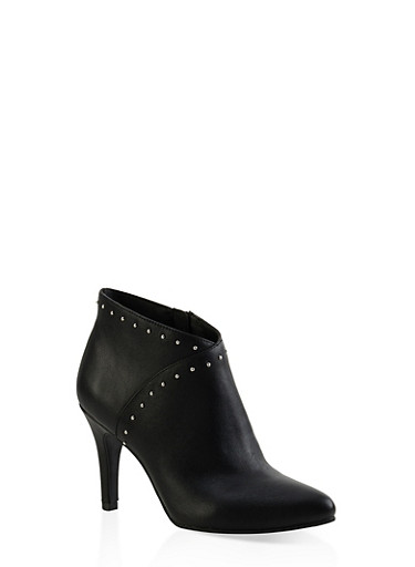 Studded High Heel Booties,BLACK,large
