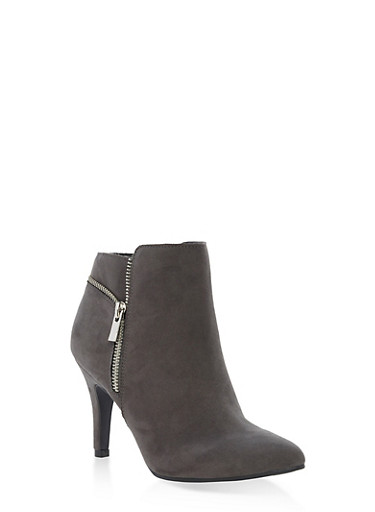 Faux Suede Side Zip Booties,CHARCOAL F/S,large