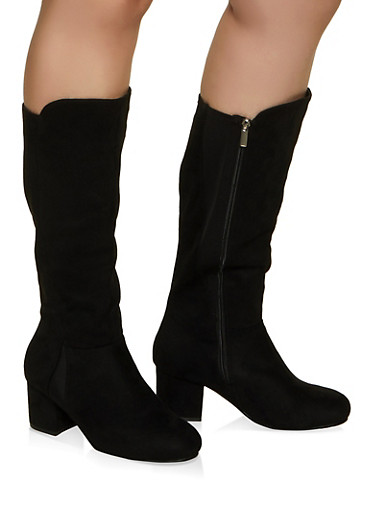 Mid Heel Wide Calf Boots,BLACK,large