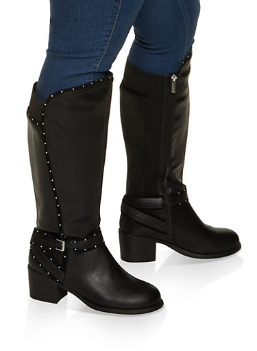 Studded Tall Wide Calf Boots,BLACK,large