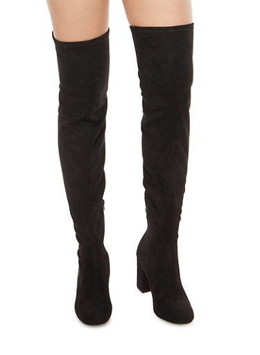Faux Suede Over the Knee Boots,BLACK F/S,large