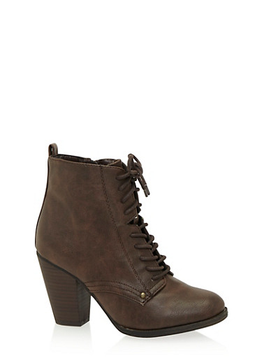 Lace Up Ankle Bootie with Heel,BROWN,large