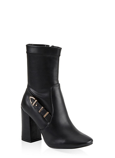 Buckle Detail Block Heel Booties,BLACK,large