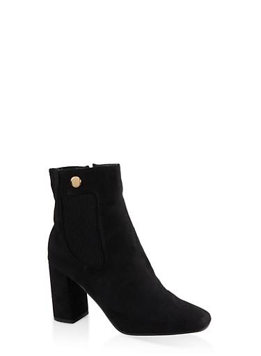 Square Toe Mid Heel Booties,BLACK SUEDE,large