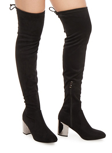 Over the Knee Boots with Mirrored Metallic Heel,BLACK F/S,large