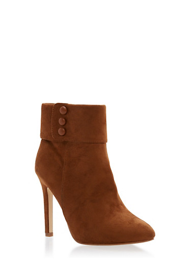 Cuffed High Heel Booties,TAN F/S,large