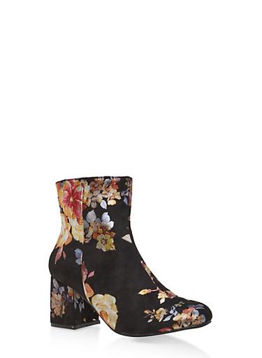 Foil Floral Faux Suede Ankle Boots,BLACK,large