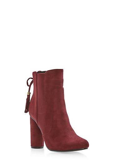 High Heel Booties with Tassel Detail,BURGUNDY F/S,large