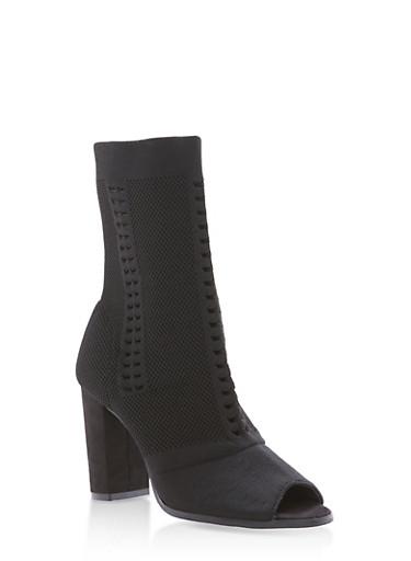 Open Toe Knit High Heel Booties,BLACK,large