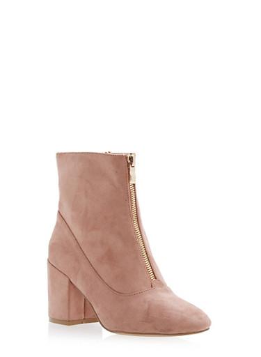 Front Zip Mid Heel Booties,BLUSH F/S,large