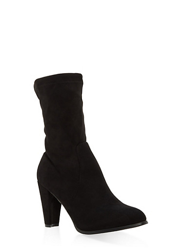 Faux Suede Back Tie Booties,BLACK,large