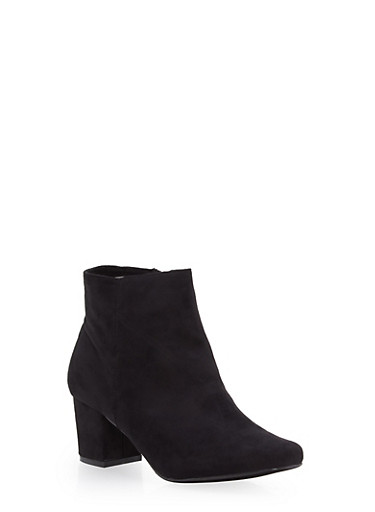 Faux Suede Square Toe Booties,BLACK,large