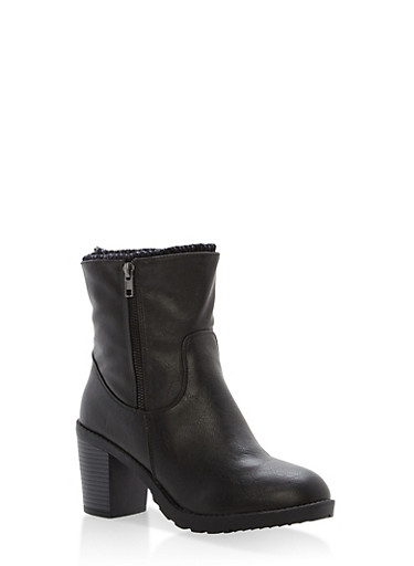 Sweater Lined High Heel Booties,BLACK,large