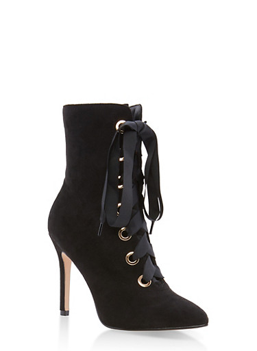 Lace Up Pointed Toe High Heel Booties,BLACK F/S,large