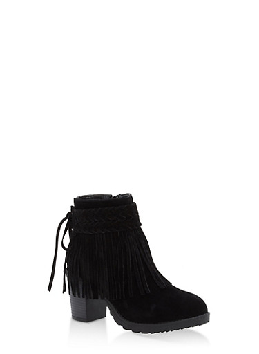 Faux Suede Fringe Booties,BLACK,large