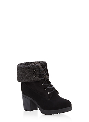 Sherpa Cuff Lace Up Booties,BLACK,large