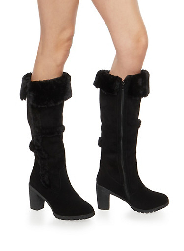 Faux Fur Trim Tall Boots,BLACK,large