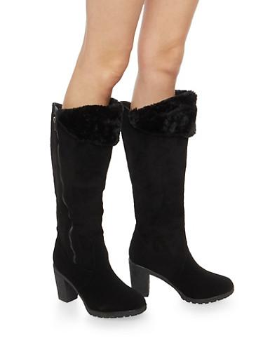 Faux Fur Cuffed High Heel Boots,BLACK NUBUCK,large