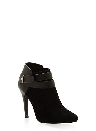 Side Buckle High Heel Booties,BLACK,large