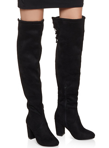 Elastic Lace Up Back Boots,BLACK SUEDE,large