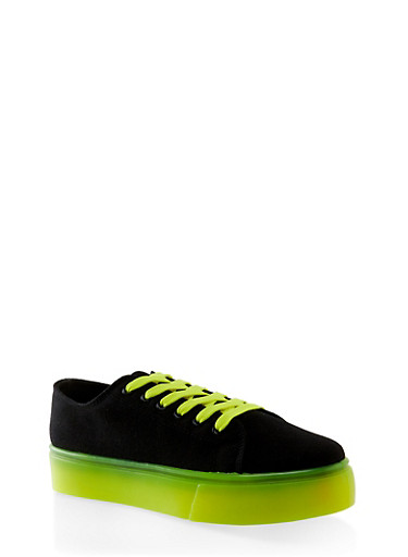 Neon Sole Lace Up Platform Sneakers,BLACK,large