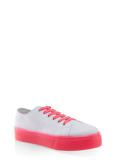 Neon Sole Lace Up Platform Sneakers,WHITE,large