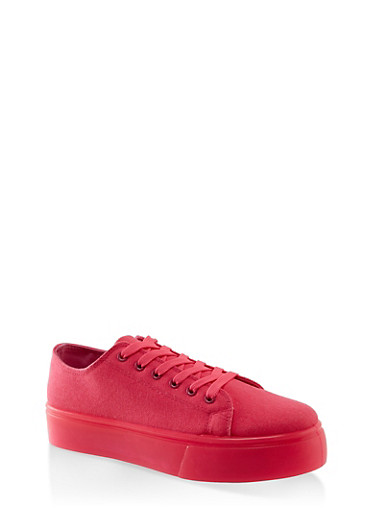 Neon Sole Lace Up Platform Sneakers,NEON PINK,large