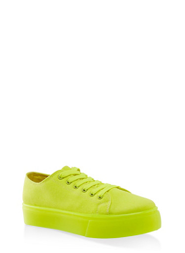 Neon Sole Lace Up Platform Sneakers,NEON YELLOW,large